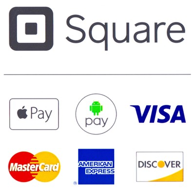 Logos of credit cards that are accepted including Apple Pay, Android Pay, Visa, Master Card, American Express, and Discover Card