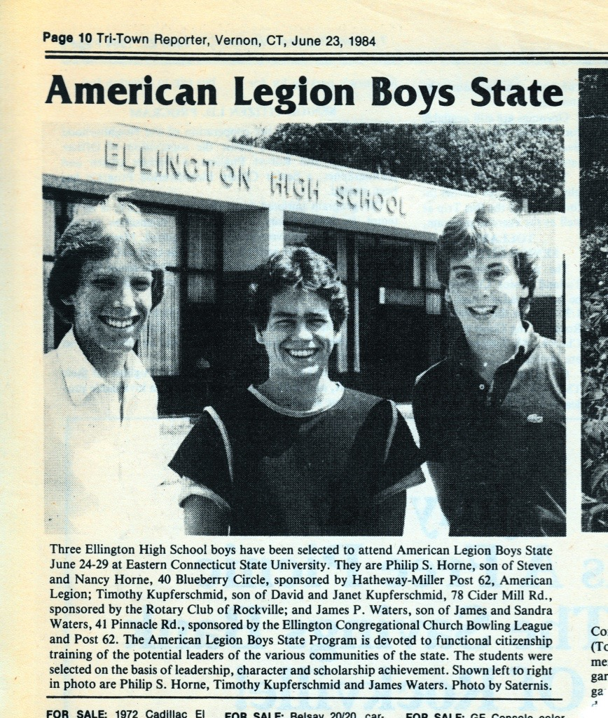 justicephil.Philip-Horne-Chosen-American-Legion-Boys-State-Delegate-by-Tri-Town-Reporter-Rockville-Connecticut-1984